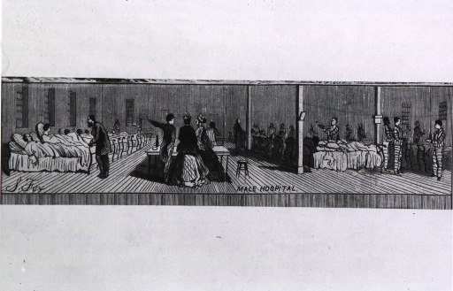 1867 wood engraving showing the interior of the hospital at Sing Sing (Figure 3)