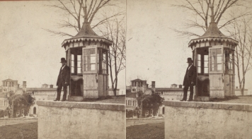 """The Miriam and Ira D. Wallach Division of Art, Prints and Photographs: Photography Collection, The New York Public Library. """"Sing Sing Prison. (Guard in front of the Guardhouse.)"""" New York Public Library Digital Collections. Accessed November 30, 2016. http://digitalcollections.nypl.org/items/510d47e1-5e88-a3d9-e040-e00a18064a99"""