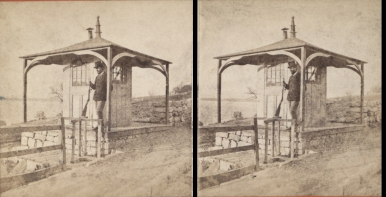 """The Miriam and Ira D. Wallach Division of Art, Prints and Photographs: Photography Collection, The New York Public Library. """"Sing Sing Prison. (Guard in front of the Guardhouse.)"""" New York Public Library Digital Collections. Accessed November 30, 2016. http://digitalcollections.nypl.org/items/510d47e1-5e8a-a3d9-e040-e00a18064a99"""