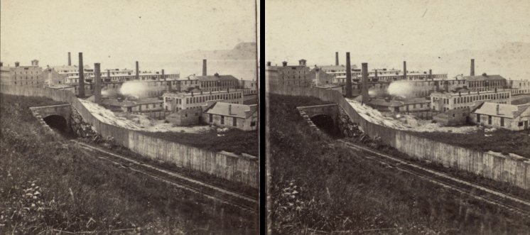 """The Miriam and Ira D. Wallach Division of Art, Prints and Photographs: Photography Collection, The New York Public Library. """"Prison and workshops, looking south."""" New York Public Library Digital Collections. Accessed November 30, 2016. http://digitalcollections.nypl.org/items/510d47e1-5e63-a3d9-e040-e00a18064a99"""