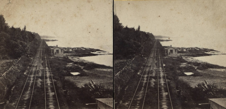 """The Miriam and Ira D. Wallach Division of Art, Prints and Photographs: Photography Collection, The New York Public Library. """"View, looking south, on the Hudson River R.R. near the Prison, with the Guard House."""" New York Public Library Digital Collections. Accessed November 30, 2016. http://digitalcollections.nypl.org/items/510d47e1-5e67-a3d9-e040-e00a18064a99"""