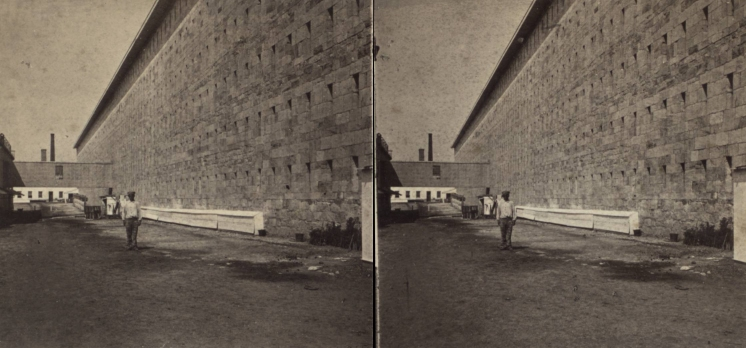 """The Miriam and Ira D. Wallach Division of Art, Prints and Photographs: Photography Collection, The New York Public Library. """"View of the Prison, West side."""" New York Public Library Digital Collections. Accessed November 30, 2016. http://digitalcollections.nypl.org/items/510d47e1-5e6f-a3d9-e040-e00a18064a99"""